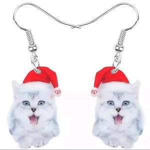 BOGO! Christmas Cat Earrings Gray White Santa Hat